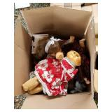 Lot with 3 boxes full with dolls, VHS movies, book