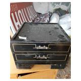 Lot with wooden vinyl and storage furniture, vinta