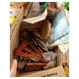 Lot with boxes full with miscellaneous items: doll