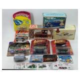 Box Lot with Diecast Car banks.  Matchbox cars, et