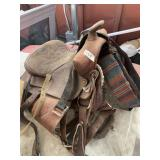 Horse saddle with equestrian accessories