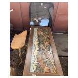 Lot of 2: one very nice wooden carved table with g