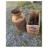 Lot of 2: vintage mink can and wooden box with vin