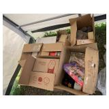 Large box with miscellaneous items: dolls in boxes