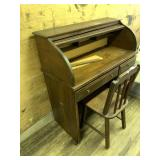 Very nice wooden small roll top desk with matching