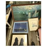 Lot with 5 pieces of framed art, different sizes