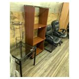 Lot with office chairs, stand wooden glass top cab