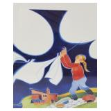 """Rie Munoz signed and numbered print """"Laundry, Egeg"""