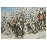 Double matted and framed print of alaskan sled dog