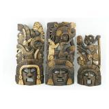 Three Beautiful Folk Art Wood Carvings of Latin Am