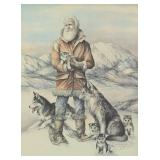Doug Lindstrand signed print of a Musher with a fa