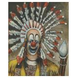 """Red Skelton signed print """"Indian Clown"""""""
