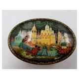 Hand-Painted and Lacquered Russian Wooden Box