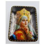 Hinged-Lidded Hand Painted Wooden Russian Lacquer