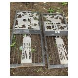 Lot of 2 heavy duty metal doors decorated with tre