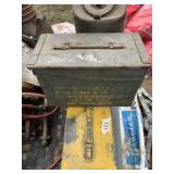 Lot with metal ammunition boxes, jerry gas can, he