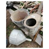 Lot containing 3 items heavy duty metal water can,