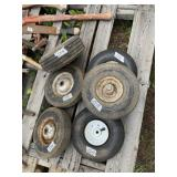 Lot with all purpose wheels most are size 4.10 x 1