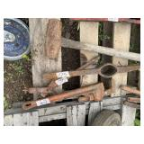 Lot with misc. items, pipe wrenches, pick without