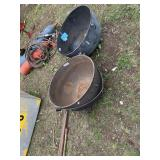 Lot of 2 cast iron heavy duty buckets dimensions a
