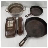 Lot of 4: 2 cast iron skillets, old wall phone, al