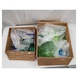 2 Box lots w/ depression glass, and drinking cups