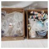 2 Box lots of glassware and porcelin dishes