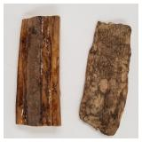 2 pieces of fossilised Ivory scraps largest approx