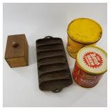 Lot with 2 antique tins a woodend bread stamp, and