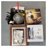 Box lot of cooking utensils, copper trivets, drink