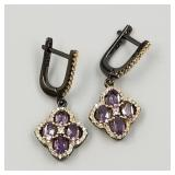Sterling silver earrings with amethyst and cz