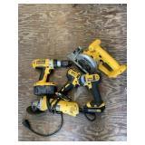 Lot with Dewalt tool set, drill, circular saw, imp