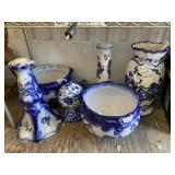Very nice large set of ceramic vases, hand painted