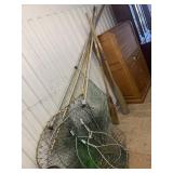Large lot of fishing nets, different sizes with ha