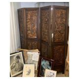 Lot with solid wood carved teak Asian design foldi