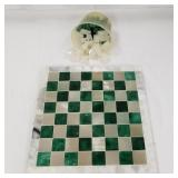 """White and green stone chess board, 10.5"""", all 16 w"""
