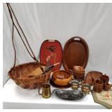 Box lot with brass, wood and silver plate dishes,