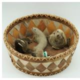 """Lot with 11"""" birch bark basket by Clara Lee from A"""
