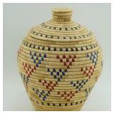 Basket from Kipnuk by Mollie Parila decorated with