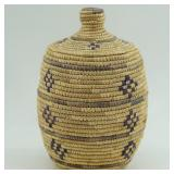 Kipnuk basket by Katie Albright with dyed seal gut