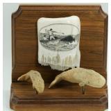 Scrimmed ivory whaling scene on hardwood base, 2 c