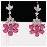 One pair of platinum ruby & diamond dangle earring