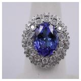 14Kt white gold ladies tanzanite and diamond ring: