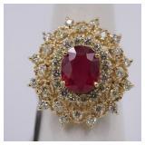 "14K yellow gold ladies custom made diamond & ""ruby"
