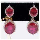 14K gold ruby & diamond earrings, the earrings are