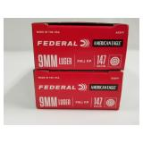 Lot of 2: 50 round boxes of Federal 9mm 147 grain