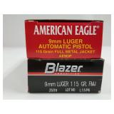 Lot of 2: 50 round boxes of 9mm 115 grain FMJ  Ame