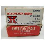 Lot of 2: 50 round boxes of .25 auto, 1 is Winches