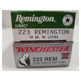 Lot of 2: 20 round boxes of .223 1 is Remington 55