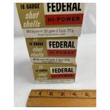 """Lot of 3: 25 round boxes of Federal 16 ga 2 3/4"""" 7"""